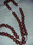 Sirag de margele MARI cu crucifix pentru gat tip matanii,rozarii,bila 1,2/1,2 cm