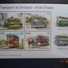1987 Irlanda Mi - bloc 6 Tramvaie** colita. - Timbre straine, Transporturi, Nestampilat
