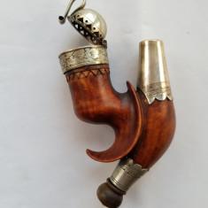PIPA TURCEASCA DE LEMN CU ARGINT - IMPERIUL OTOMAN - sec. 19 - înc. anilor 1800