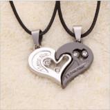 Pandantiv / Colier / Lantisor - Pentru Cuplu - Set inima 2 Bucati - I Love You