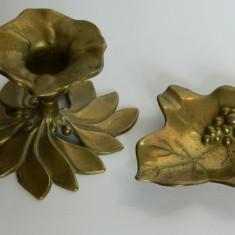 Sfesnic si frunza (scrumiera) bronz - Metal/Fonta