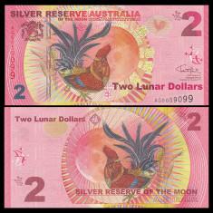 !! RARR : AUSTRALIA - FANTASY NOTE - 2 DOLARI LUNARI 2017, ANUL COCOSULUI - UNC