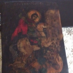 Veche icoana pe lemn cu foita de aur Ruseasca Sfintul Gheorghe