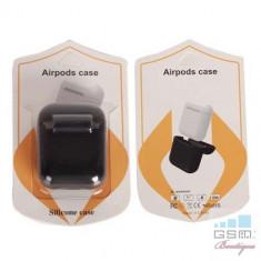 Husa Casti Handsfree Apple AirPods iPhone 7 Albastru Inchis - Handsfree GSM