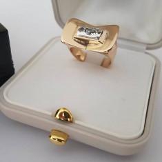 Inel din aur 14k cu diamante - poanson romanesc. Masura - 10 - Inel diamant, Culoare: Galben