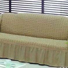Husa canapea 3 locuri din bumbac elasticizat creponat - Bej Inchis