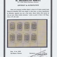ROMANIA Ardealul de Nord 1944 colita 8 timbre posta locala Nasaud cu atest - Timbre Romania, Nestampilat