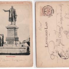 Targu Mures 1899 - Statuia Kossuth, ilustrata circulata