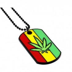 Pandantiv Medalion Lantisor Dogtag frunza marijuana
