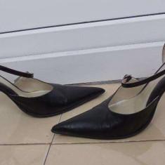 Pantofi dama piele naturala - Pantof dama, Culoare: Negru, Marime: 38, Cu toc