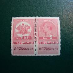 TIMBRU FISCAL 5 LEI 1936 FONDUL AVIATIEI INTREG CAROL AL II LEA MNH - Timbre Romania, Nestampilat