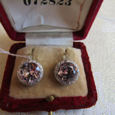 LICHIDEZ COLECTIE- CERCEI ANTICI CU QUARTZ ROZ - Cercei cu diamante