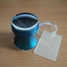 Stampila transparenta cu maner din metal albastru 3, 8cm pentru matrita de unghii - Decoratiuni unghii