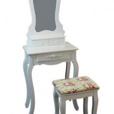 Set masuta toaleta pentru machiaj cu oglinda si sertare incorporate + scaun, culoare ALB - Oglinda hol