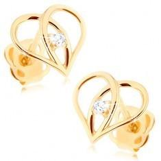 Cercei cu diamante, din aur 585 - contur inimă cu diamant - Cercei aur