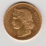 *  Moneda 20 franci (francs) 1893 B aur Elvetia (Helvetica) - P, Europa
