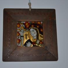 Icoana veche pictata cu foita de aur si rama pictata / Icoana sticla anii 1915 - Icoana pe sticla