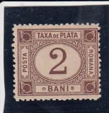 ROMANIA 1881 TAXA DE PLATA TIPAR BRUN VALOAREA 2 BANI, Nestampilat