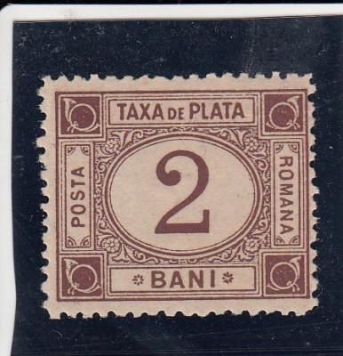 ROMANIA 1881 TAXA DE PLATA TIPAR BRUN VALOAREA 2 BANI foto