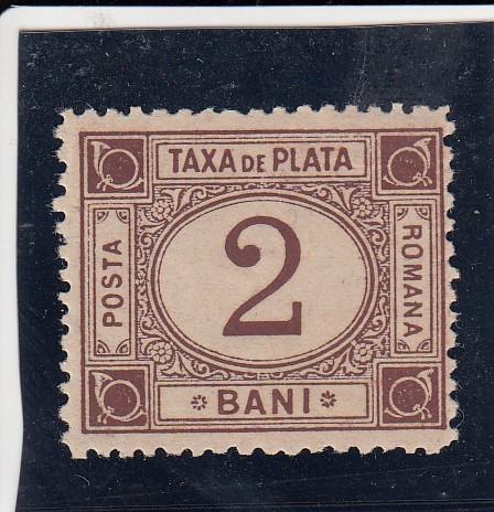 ROMANIA 1881 TAXA DE PLATA TIPAR BRUN VALOAREA 2 BANI
