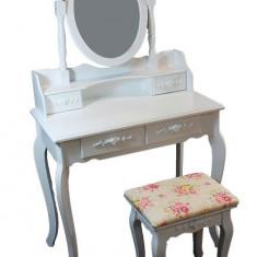 Set masuta toaleta pentru machiaj cu oglinda si 4 sertare incorporate + scaun, culoare Negru - Oglinda hol