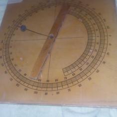 GONIOMETRU vechi de colectie, goniometru 35/35 cm, aparat didactic de masura, T.G