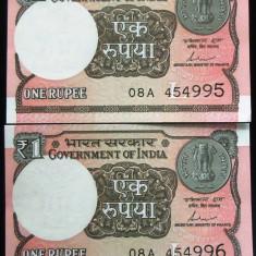 Lot/Set Bancnote 1 Rupie - INDIA 2017: SERII CONSECUTIVE+NECIRCULATE cod 388 - bancnota asia