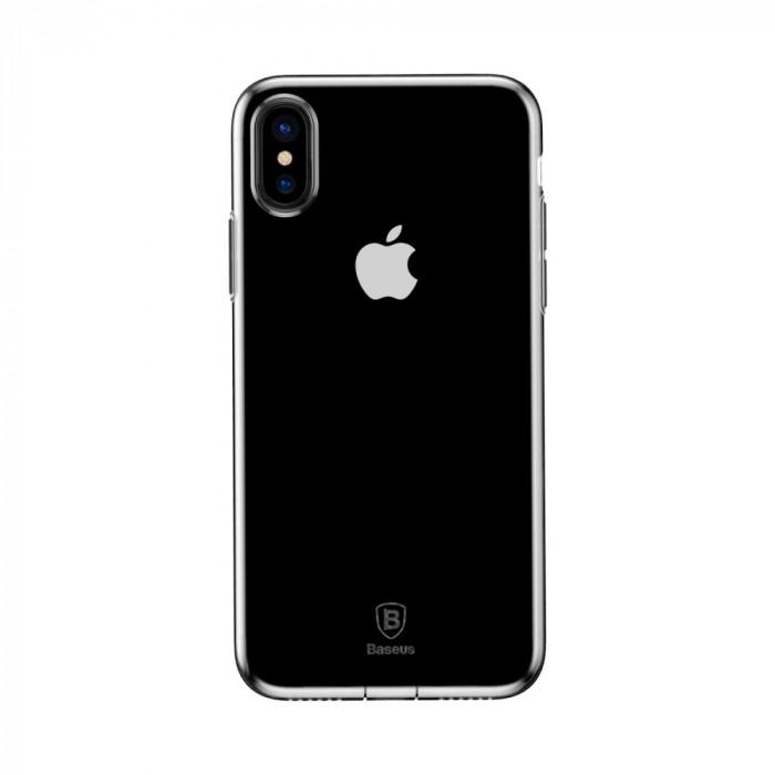 Carcasa protectie spate din gel TPU cu dopuri anti-praf pentru iPhone X 5.8 inch, transparenta foto mare