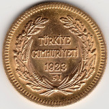 *  Moneda Turcia 100 Kurush 1923 aur - P, Europa