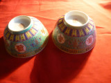 2 Boluri Portelan fin China- Motive traditionale D.sus= 11,5cm