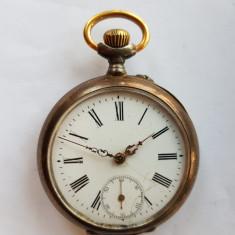 CEAS DE BUZUNAR CU 2 CAPACE DE ARGINT ART NOUVEAU anii 1900 - Ceas de buzunar vechi