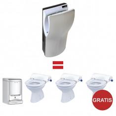 Pachet Uscator maini 1100 W, Dual-Flow Plus, Mediclinics si Gratuit Dozator sapun lichid si Capac toaleta igienic