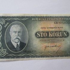 Cehoslovacia 100 Korun 1945 - bancnota europa