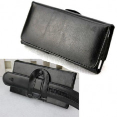 Toc piele prindere curea pantaloni Iphone 7 Plus - Husa Telefon, Negru