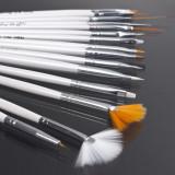 Pensule Manichiura Unghii False Gel Nail Art Pensula Acril Acryl Lampa Uv Set 15