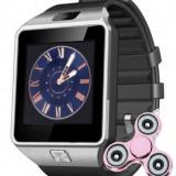 Smartwatch iUni DZ09 Plus, BT, Camera 1.3MP, 1.54 Inch, Argintiu + Spinner Cadou