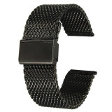 Bratara Metalica Neagra Mesh Milaneza 18mm 20mm 22mm 24mm - Curea ceas din metal