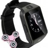 Smartwatch iUni DZ09 Plus, BT, Camera 1.3MP, 1.54 Inch, Negru + Spinner Cadou