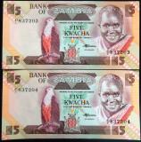Lot/Set Bancnote 5 KWACHA - ZAMBIA: SERII CONSECUTIVE+NECIRCULATE   cod 433 B