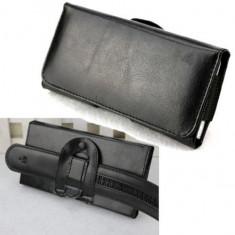 Toc piele prindere curea pantaloni Samsung Galaxy Note 3 Note 4 Note 5 - Husa Telefon, Negru