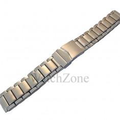 Bratara Ceas Otel Inoxidabil Argintiu cu Doua Nuante - Curea ceas din metal