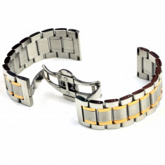 Bratara Metalica Bicolora cu Deployant 22mm - Curea ceas din metal
