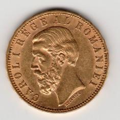* Moneda 20 lei 1890 aur - P - Moneda Romania