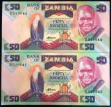 Lot/Set Bancnote 50 KWACHA - ZAMBIA: SERII CONSECUTIVE+NECIRCULATE   cod 433 C