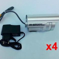 Pachet 4 Camere supraveghere exterior unghi larg CCD alimentatoare incluse - Camera CCTV, Cu fir, Color