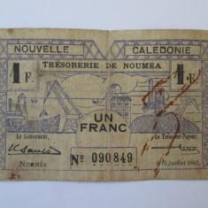 Noua Caledonie(Noumea)-Teritoriile Franceze de peste mari(DOM-TOM) 1 Franc 1942