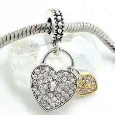 Charm talisman INIMA LACATEL - pentru bratara Pandora PLACAT ARGINT - Bratara argint pandora, Femei
