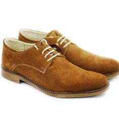 Pantofi barbati casual - eleganti maro, din piele naturala intoarsa, Marime: 37, 38, 39, 40, 41, 42, 43, 44, 45
