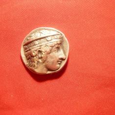 Moneda argint- Copie metal comun -Peloponez - Olimpia, d= 2, 3 cm-cap Hera - Moneda Antica