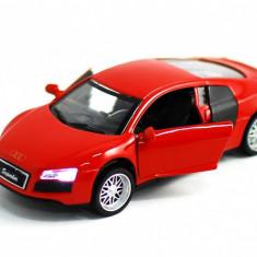 Masinuta din metal Audi R8 DIE CAST cu faruri functionale si sunete 1:32